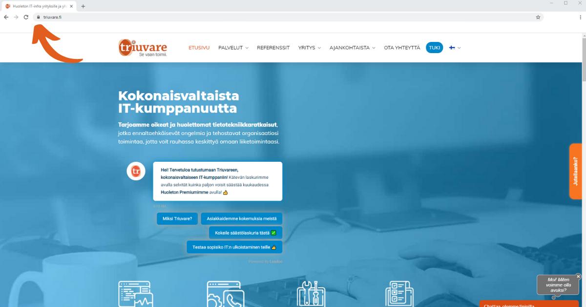 Turvallisen sivuston tunnistaa selaimen lukkosymbolista
